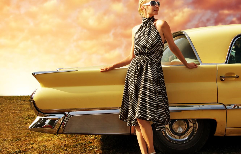 Фото обои авто, пейзаж, стиль, ретро, Девушка, красота, платье, внешность