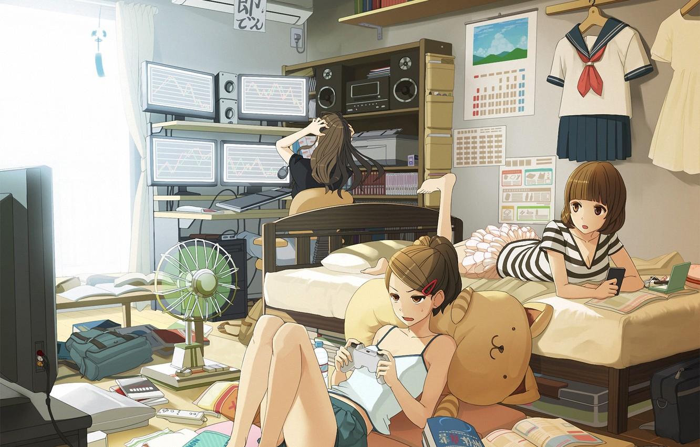 Фото обои компьютер, девушки, комната, игра, жара, кровать, вентилятор, телевизор, арт, джойстик, форма, monkey d luffy, мониторы, …