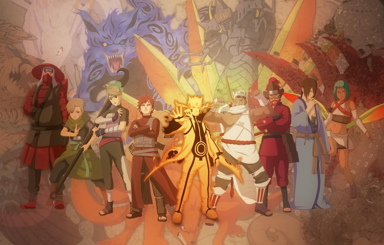 Фото обои Naruto, anime, Killer Bee, Han, Roush, Jinchuuriki, Yugito Nii, Fuu, Utakata, Yagura, Gaara, Kyuubi mode