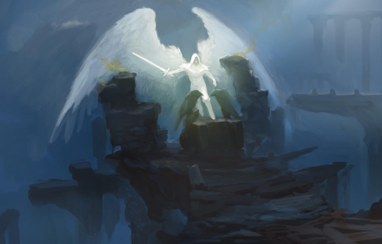 Фото обои камни, оружие, фантастика, крылья, ангел, меч, арт, капюшон, вороны