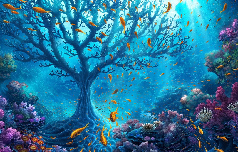 Фото обои colorful, fantasy, sea, ocean, water, flowers, tree, harmony, goldfish, fish, branches, old tree, wildlife, reef, …