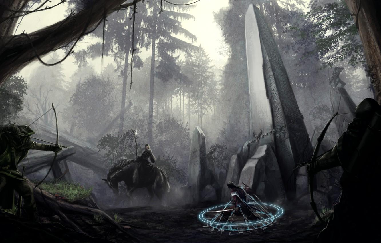 Фото обои лес, оружие, магия, меч, лук, арт, маг, всадник, колонна, обелиск, okita, лучники, пленник