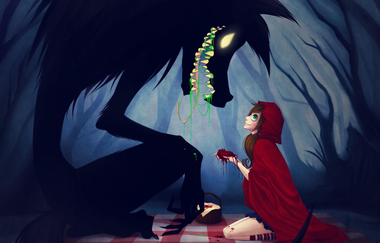 Фото обои лес, девочка, плащ, волк. сердце, Красная шапочка, Red riding hood