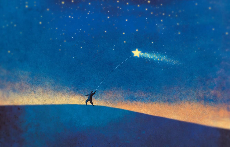Фото обои звезда, человек, минимализм, синий фон
