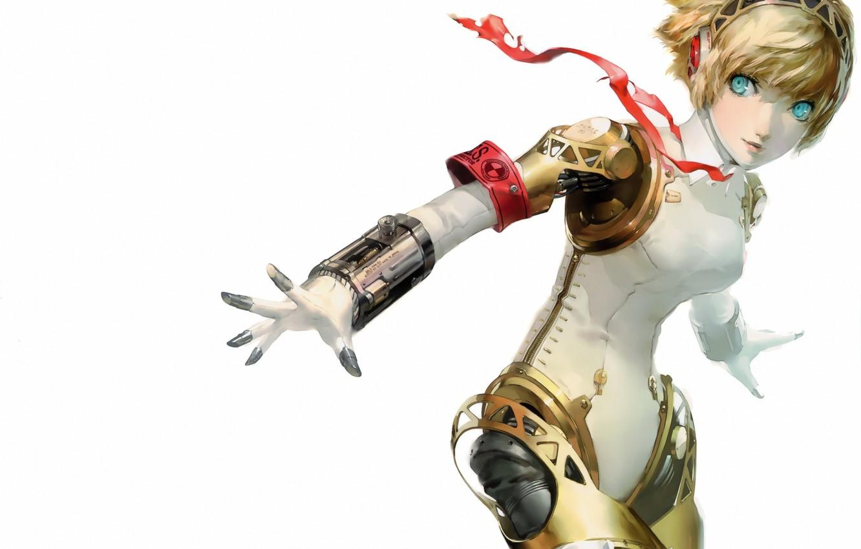 Фото обои девушка, робот, наушники, лента, белый фон, persona 3, soejima shigenori