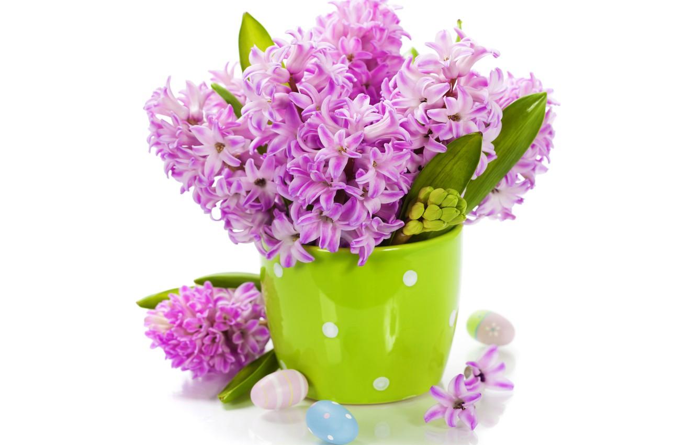 Фото обои яйца, букет, flowers, spring, easter, гиацинты, lilac