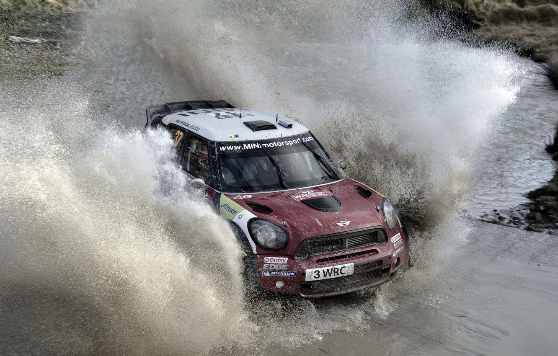Фото обои Вода, Mini, Лужа, Брызги, wrc, Rally, Мини Купер, Dani Sordssso