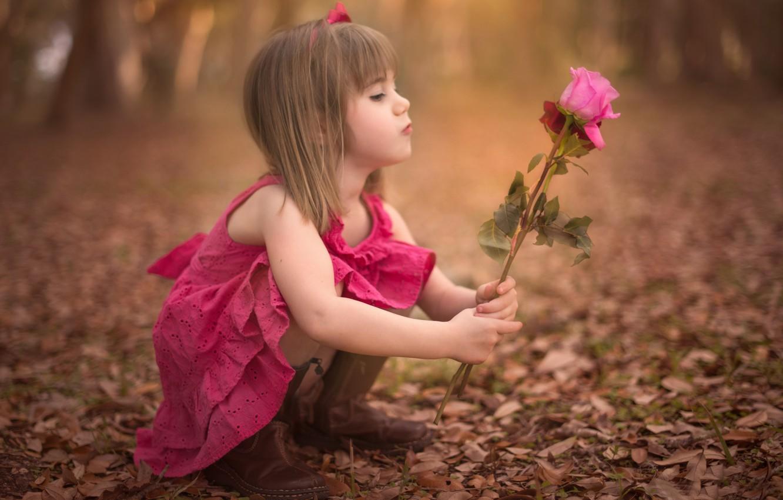 Фото обои осень, цветок, фон, widescreen, обои, роза, ребенок, девочка, wallpaper, girl, rose, flower, широкоформатные, background, autumn, …