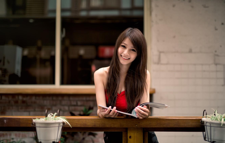 Фото обои взгляд, девушка, азиатка