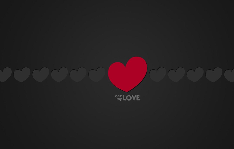 Фото обои Love, Минимализм, Черный, Любовь, Сердце, Сердечки, Фон, Надпись, One, Слова, Текст, Моя, Одна