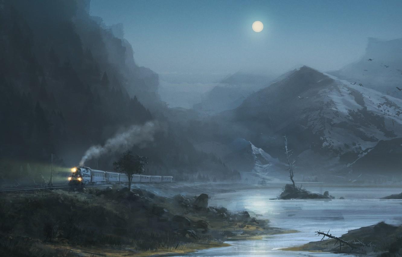 Фото обои горы, птицы, ночь, озеро, луна, Поезд