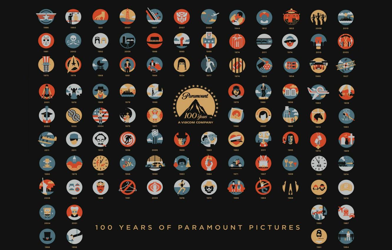 Фото обои Кино, Movies, Art, Фильмы, 100 лет, Парамаунт Пикчерз, Paramount Pictures, 100 Years Anniversary