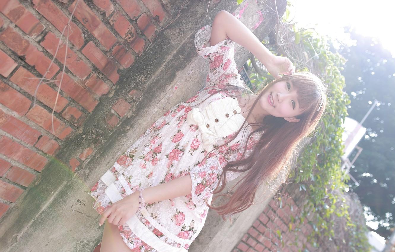 Фото обои лето, взгляд, девушка, лицо, волосы, платье, азиатка