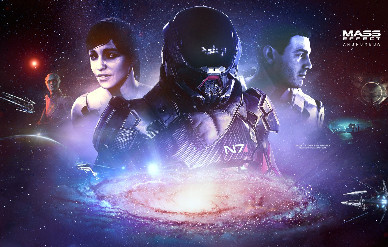 Фото обои galaxy, Mass effect, asari, andromeda, Ryder, tempest