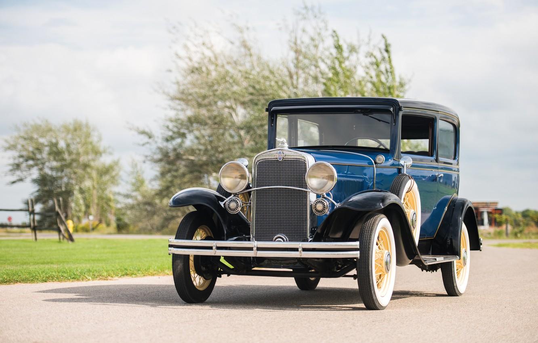 Фото обои Синий, Chevrolet, Ретро, Автомобиль, 1931, Coach, Металлик, Independence, (AE-9)