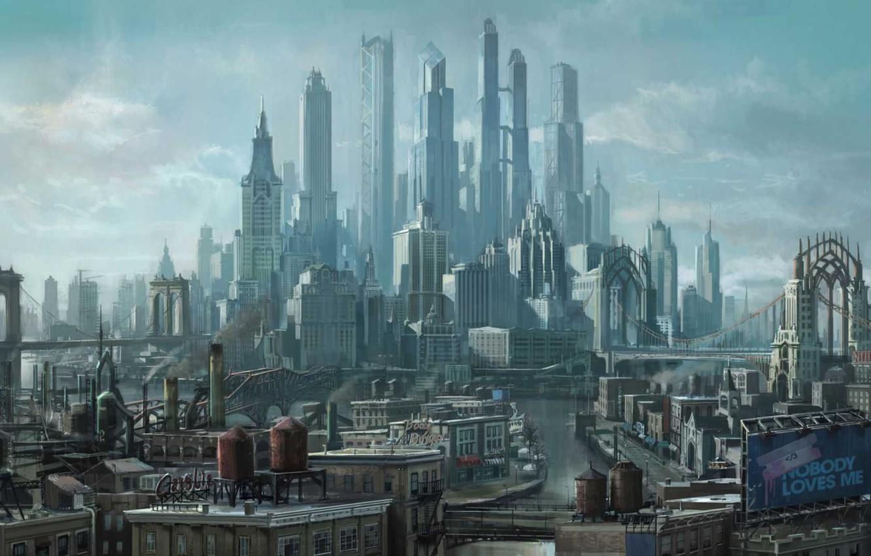 Фото обои город, будущее, небоскребы, арт, мегаполис, Saints Row the Third