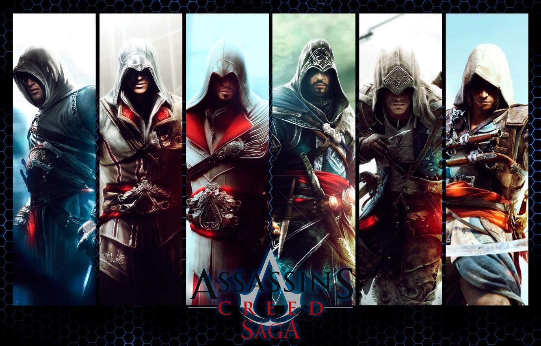 Фото обои надпись, коллаж, игра, персонажи, Assassin's Creed
