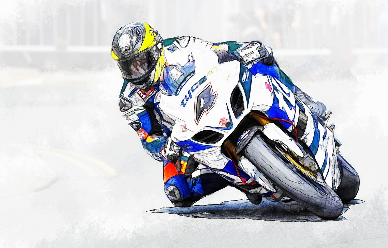 Обои мотоциклист, гонка. Мотоциклы foto 14