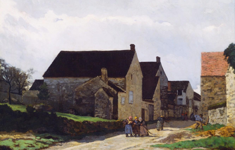 Фото обои небо, облака, город, люди, улица, дома, картина, Alfred Sisley