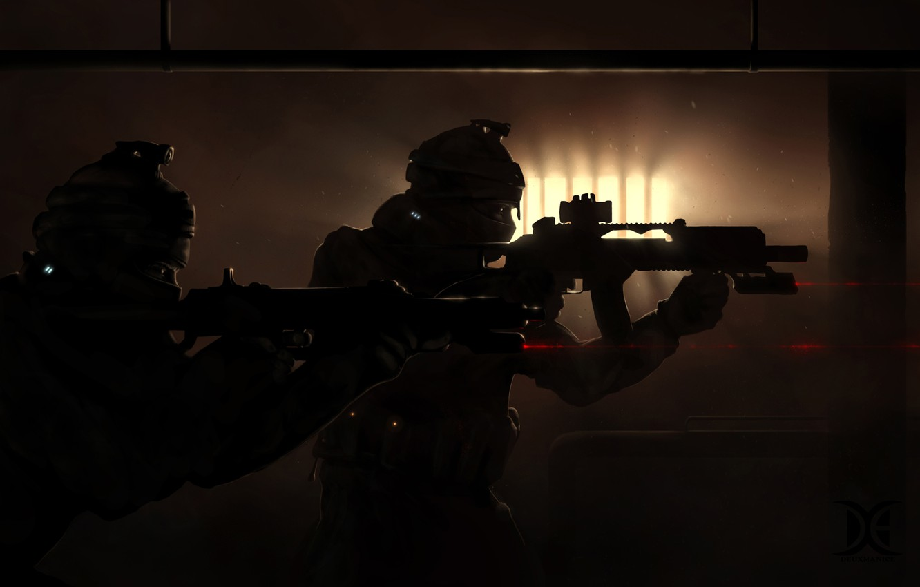 Фото обои guns, soldiers, darkness, special forces