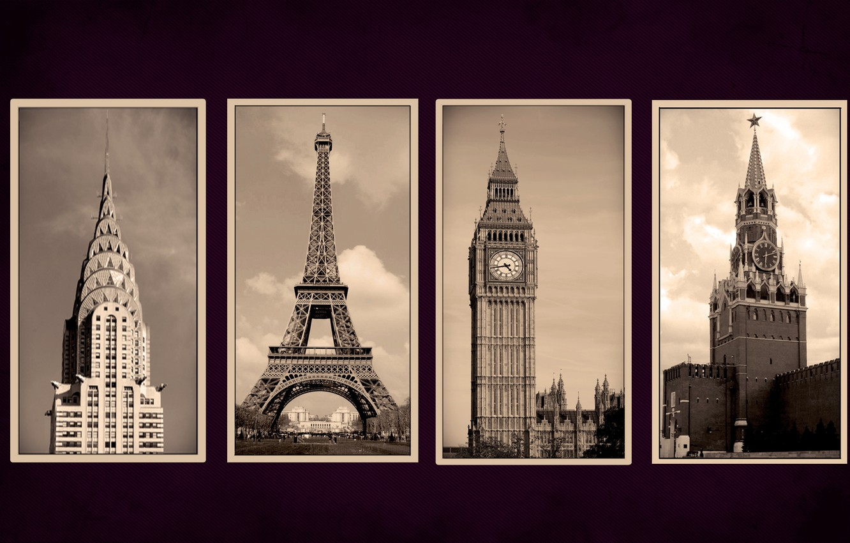Фото обои города, Paris, New York, Moscow, London