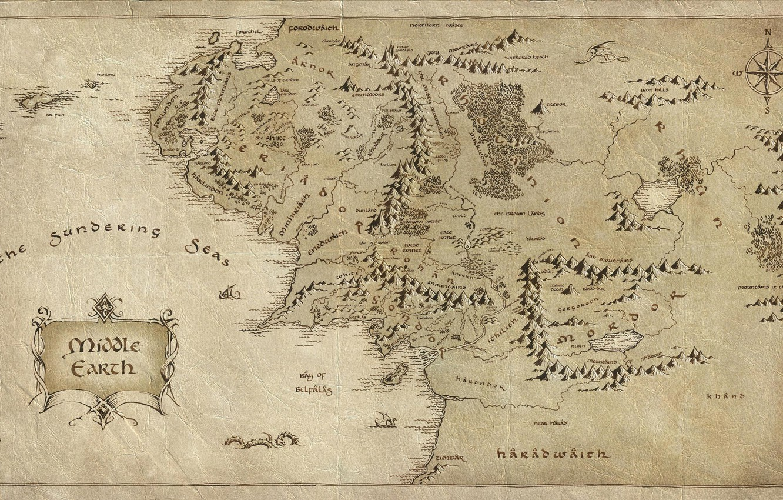 Фото обои бумага, карта, Властелин колец, The Lord of the Rings, Средиземье, Middle-earth, заломы