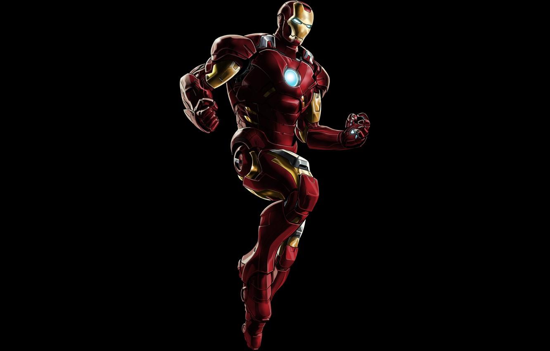 Фото обои metal, red, armor, Iron Man, pose, suit, uniform