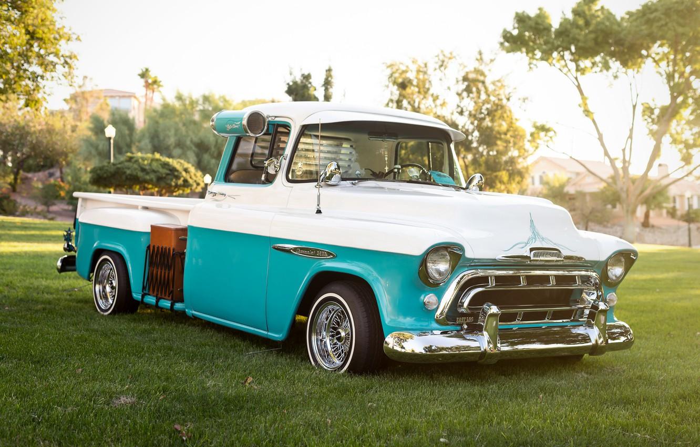 Фото обои ретро, Chevrolet, классика, пикап, 1957, pickup
