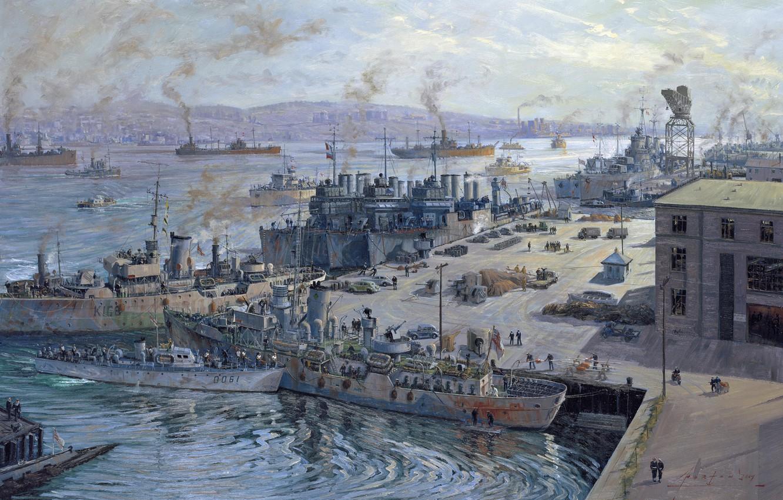 Фото обои машины, люди, рисунок, здания, корабли, причал, арт, порт, Канада, John Horton, грузы, Галифакс