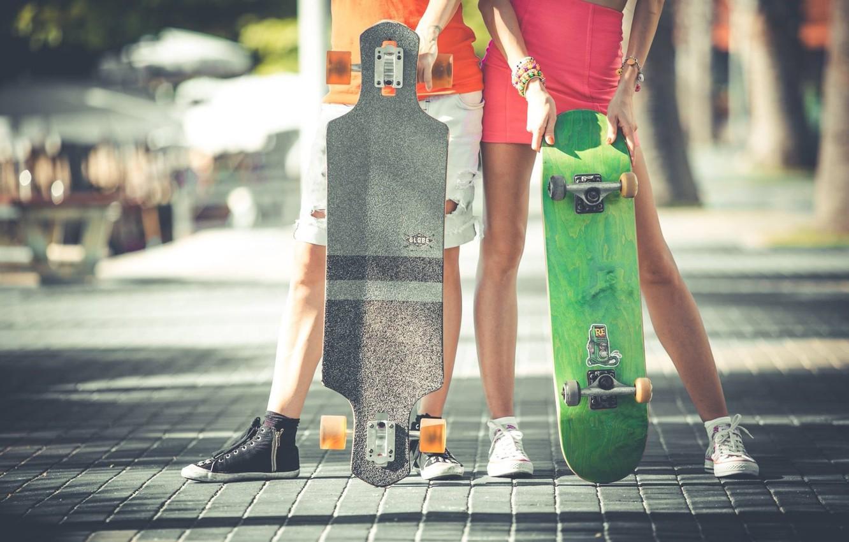 Фото обои люди, ноги, спорт, женщина, мужчина, доска, скейт, мостовая, скейтборд, лонгборд, увлечение