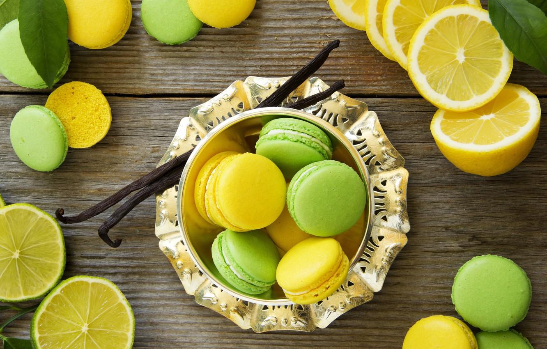 Фото обои листья, лимон, лайм, выпечка, сладкое, макаруны