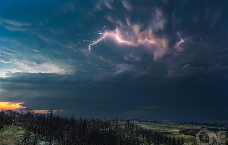 Фото обои гроза, небо, тучи, молнии, вымеобразные облака