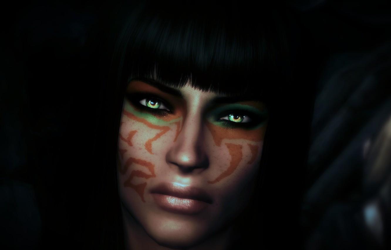 Фото обои взгляд, девушка, волосы, черный фон, зеленые глаза, скайрим, Skyrim, челка, The Elder Scrolls V