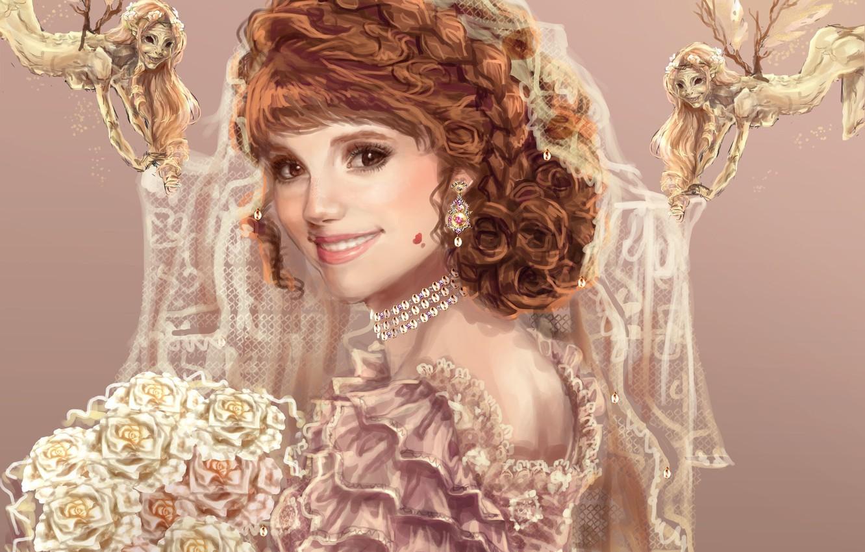 Фото обои взгляд, девушка, улыбка, букет, платье, арт, живопись, невеста, Sillselly