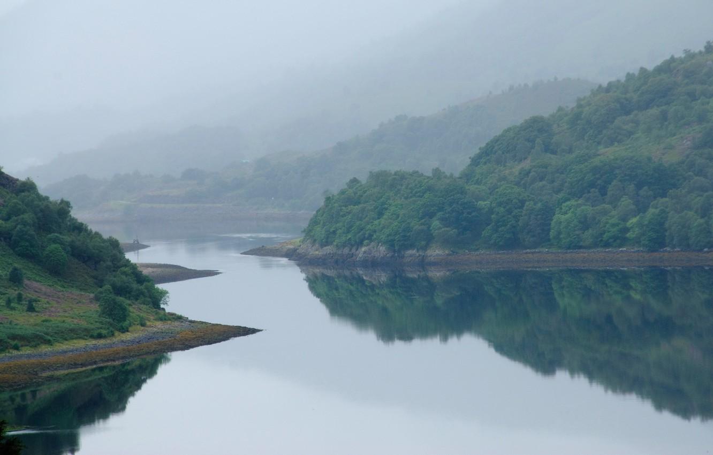 Фото обои небо, вода, горы, туман, река, шотландия