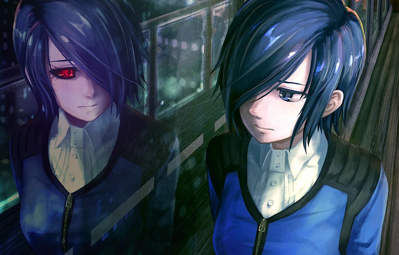 Фото обои девушка, отражение, токийский гуль, Tokyo Ghoul, Kirishima Touka