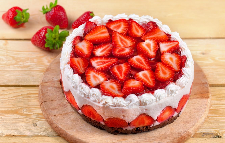 Обои Strawberry, cake, food. Еда foto 7