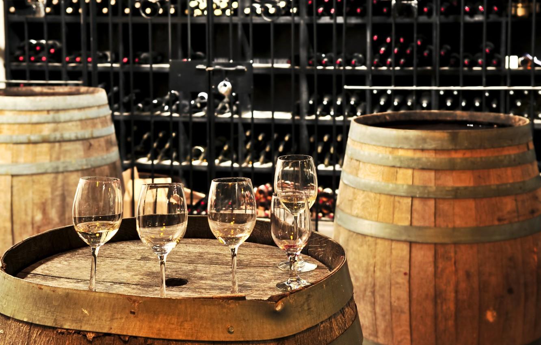 Фото обои wine, drinks, cups, barrels