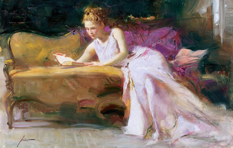 Фото обои девушка, диван, картина, платье, арт, блондинка, книга, Pino Dangelico