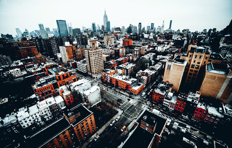 Фото обои Нью-Йорк, небоскребы, архитектура, New York, Manhattan