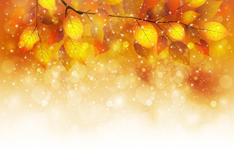 Фото обои осень, листья, пузыри, веточка, блески