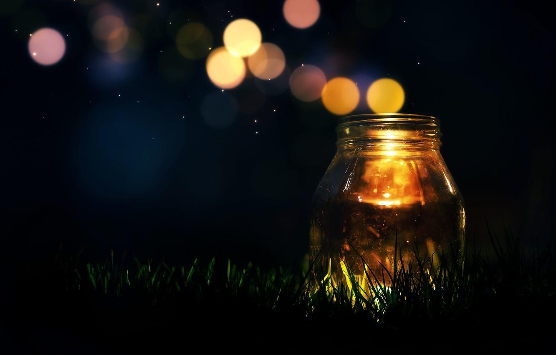 Фото обои зелень, трава, свет, фон, обои, настроения, свеча, блестки, wallpaper, широкоформатные, background, боке, полноэкранные, HD wallpapers, …