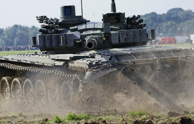 Фото обои поле, танк, ствол, боевой, бронетехника, Т-72 м