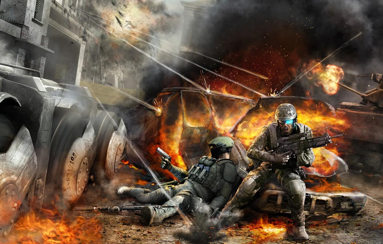 Фото обои soldiers, tom clancys, war, ghost recon advanced warfighter