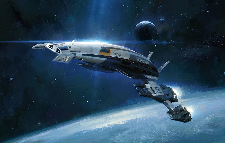 Фото обои космос, корабль, планета, space, нормандия, mass effect, normandy, масс эффект, sr-2