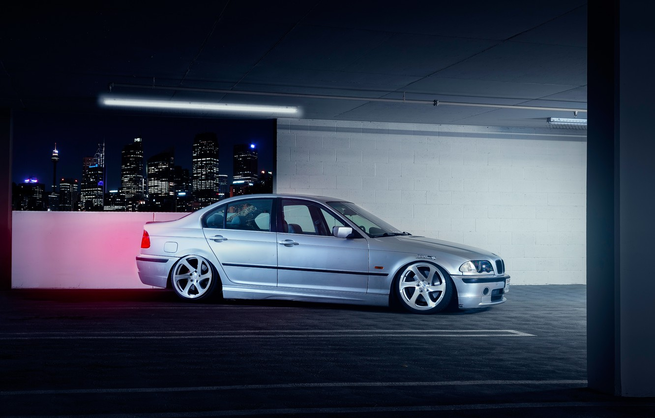 Фото обои BMW, Car, Front, E46, Sport, Parking, Stance