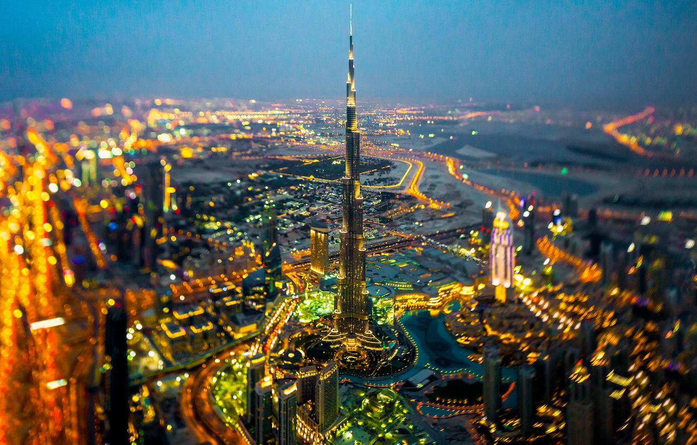 Фото обои огни, горизонт, Дубай, улицы, Бурдж-Халифа, в ночное время