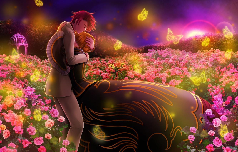 Фото обои любовь, бабочки, цветы