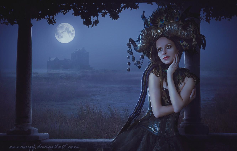 Фото обои Девушка, Взгляд, Луна, Волосы, Фантастика