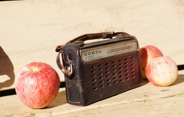 Фото обои фон, яблоки, радио
